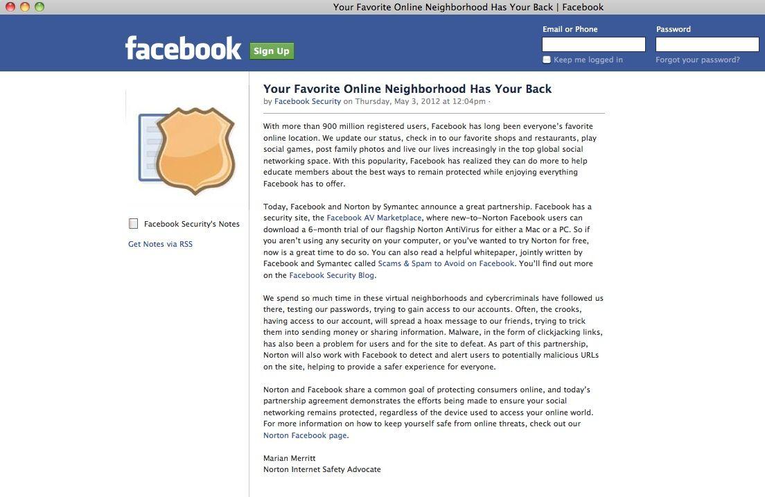 SCREENSHOT / Facebook /Security