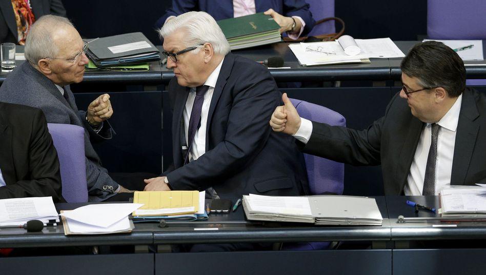 Schäuble, Steinmeier und Gabriel im Bundestag: Auf Versöhnungskurs