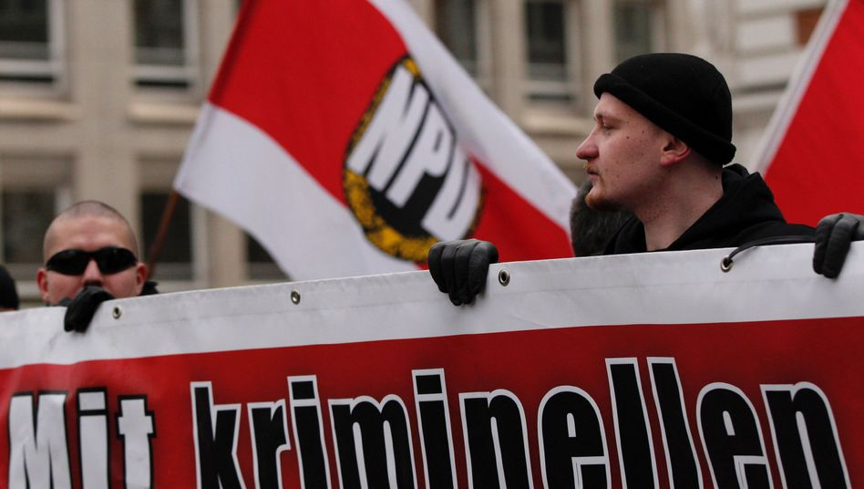 An NPD rally in Hamburg (Feb. 2011 photo). Calls to outlaw the far-right NPD were vociferous following the discovery of a neo-Nazi extremist cell which is believed to have killed nine immigrants and a policewoman.
