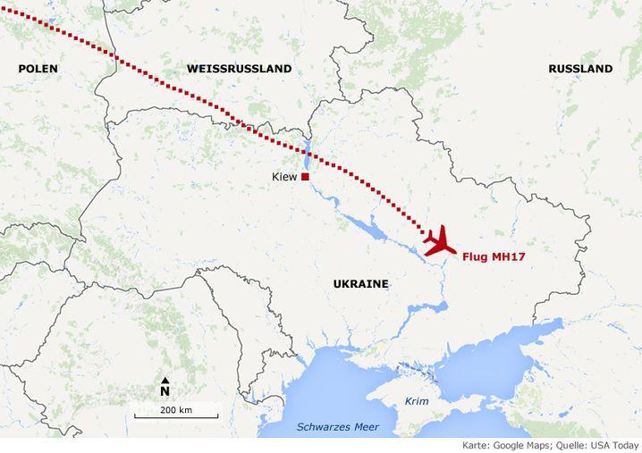 Flugroute von MH17: Absturz über der Ostukraine