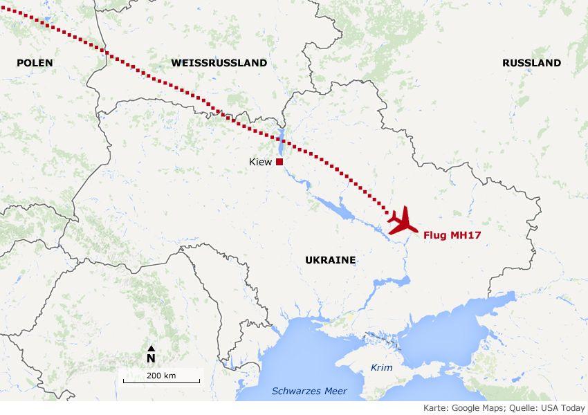 Karte MH17 Flugzeugabsturz
