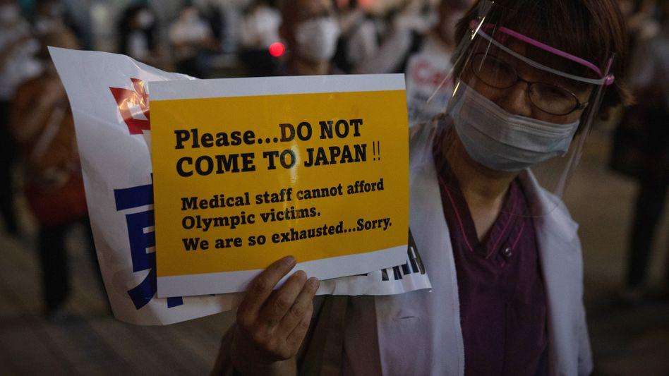 Demonstration gegen die Olympischen Spiele in Japan