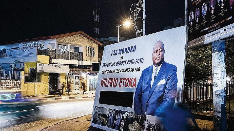 The businessman Claude Wilfrid Etoka on a poster in Brazzaville