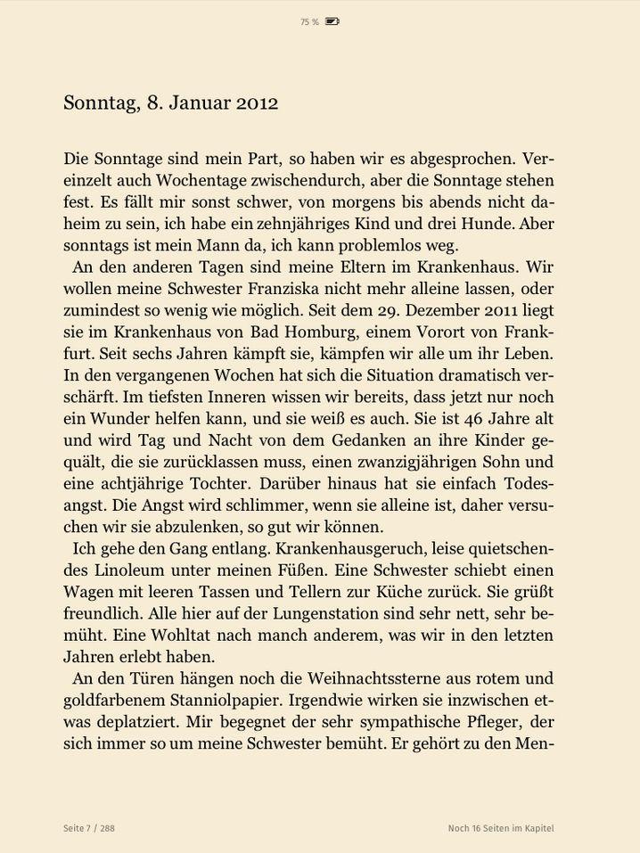 """Seite eines Skoobe-E-Books: Neben der Schriftgröße lässt sich die Hintergrundfarbe wechseln, ungeduldigen Lesern hilft die """"Noch X Seiten im Kapitel""""-Anzeige"""