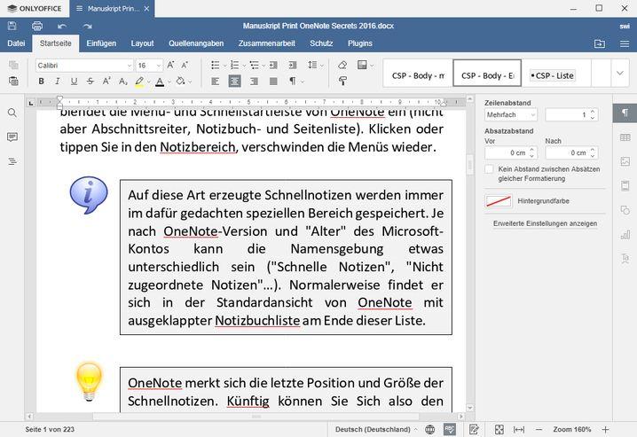 Das komplex formatierte .docx-Buchmanuskript ließe sich direkt an die Druckerei schicken - wenn es denn eine Trennhilfe in OnlyOffice gäbe