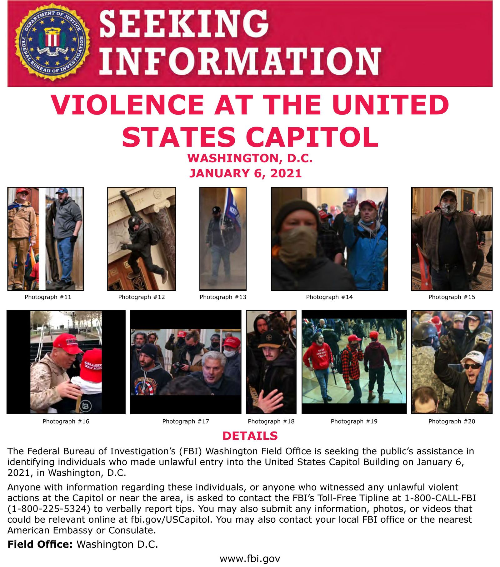FBI releases image of suspects wanted in connection with assault on capitol, Washington, USA - 06 Jan 2021