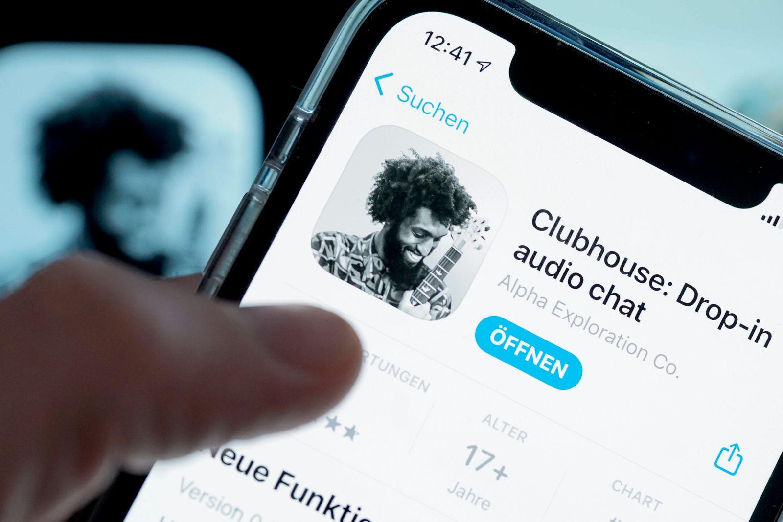 Symbolfoto Clubhouse neue Social-Media-App Aktuell, Symbolbild und Logo der neuen Hype und Social-Media-App Clubhouse .