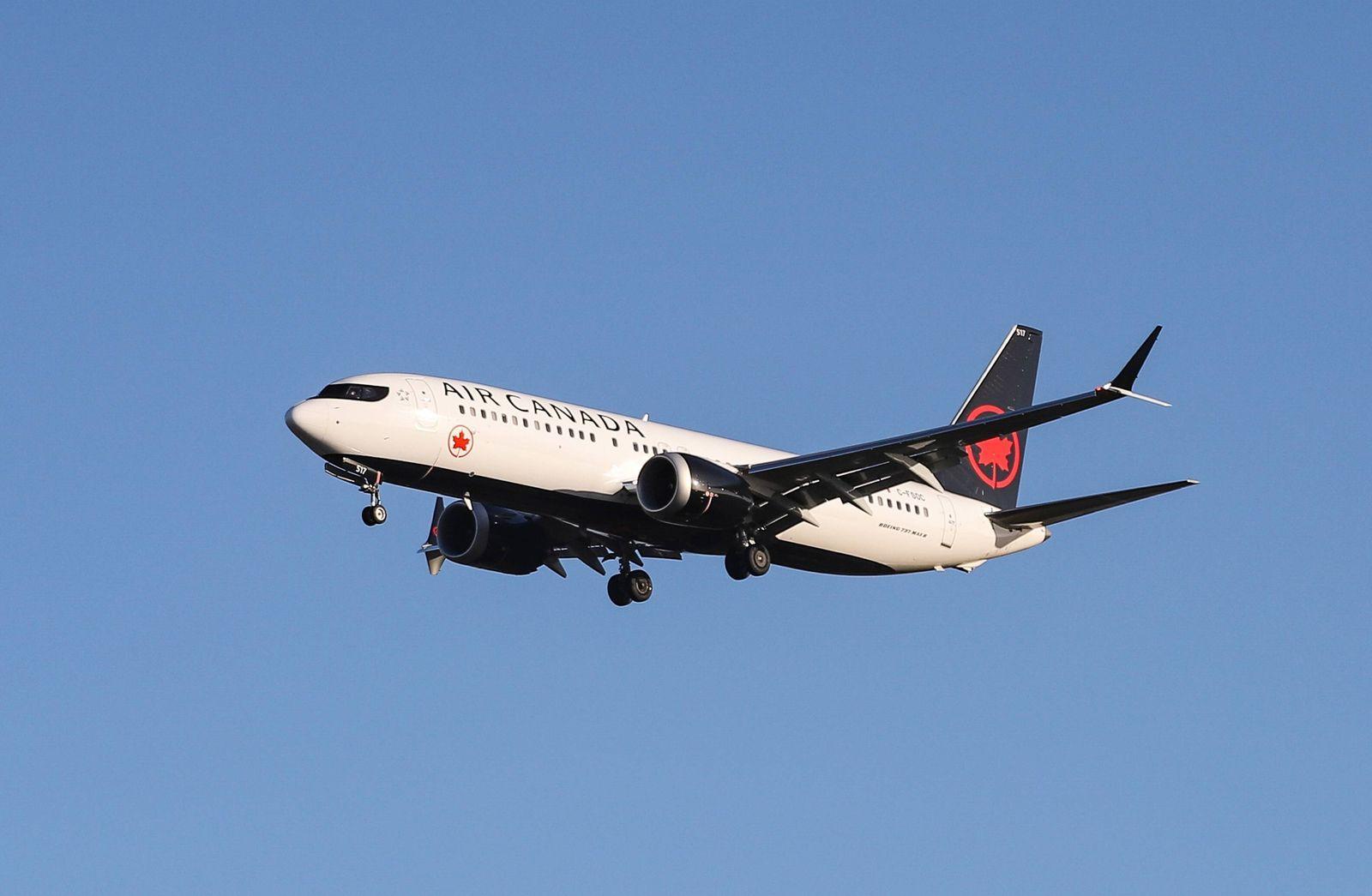 November 30, 2018 - London, England, United Kingdom - Air Canada Boeing 737 MAX 8 landing at London Heathrow Internation