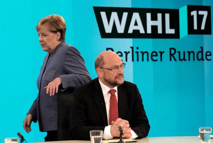 Angela Merkel, Martin Schulz (in der TV-Runde am Wahlabend)