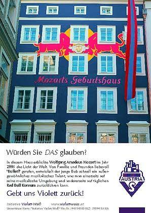 Protestplakat der Initiative: Verschandelung des Mozart-Hauses
