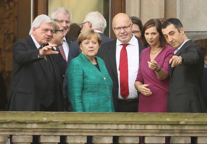 Jamaika-Sondierer auf dem Balkon der Parlamentarischen Gesellschaft in Berlin