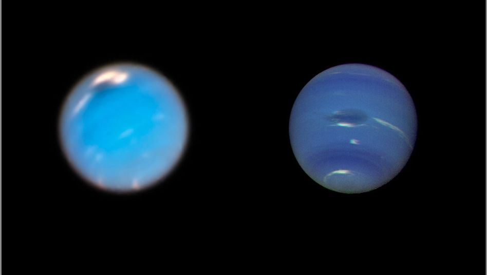 "Stürme auf dem Planeten Neptun, (links Hubble-Aufnahme, rechts Raumsonde ""Voyager 2"""