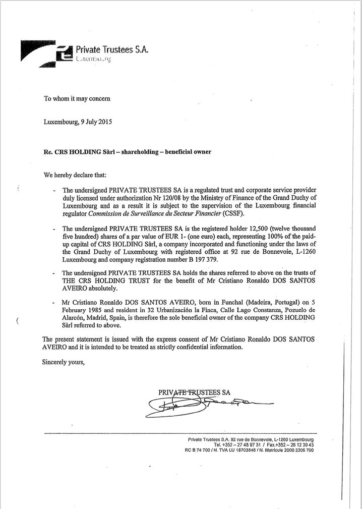 Ausriss aus Dokumenten einer Ronaldo-Firma: Strohmänner statt Transparenz