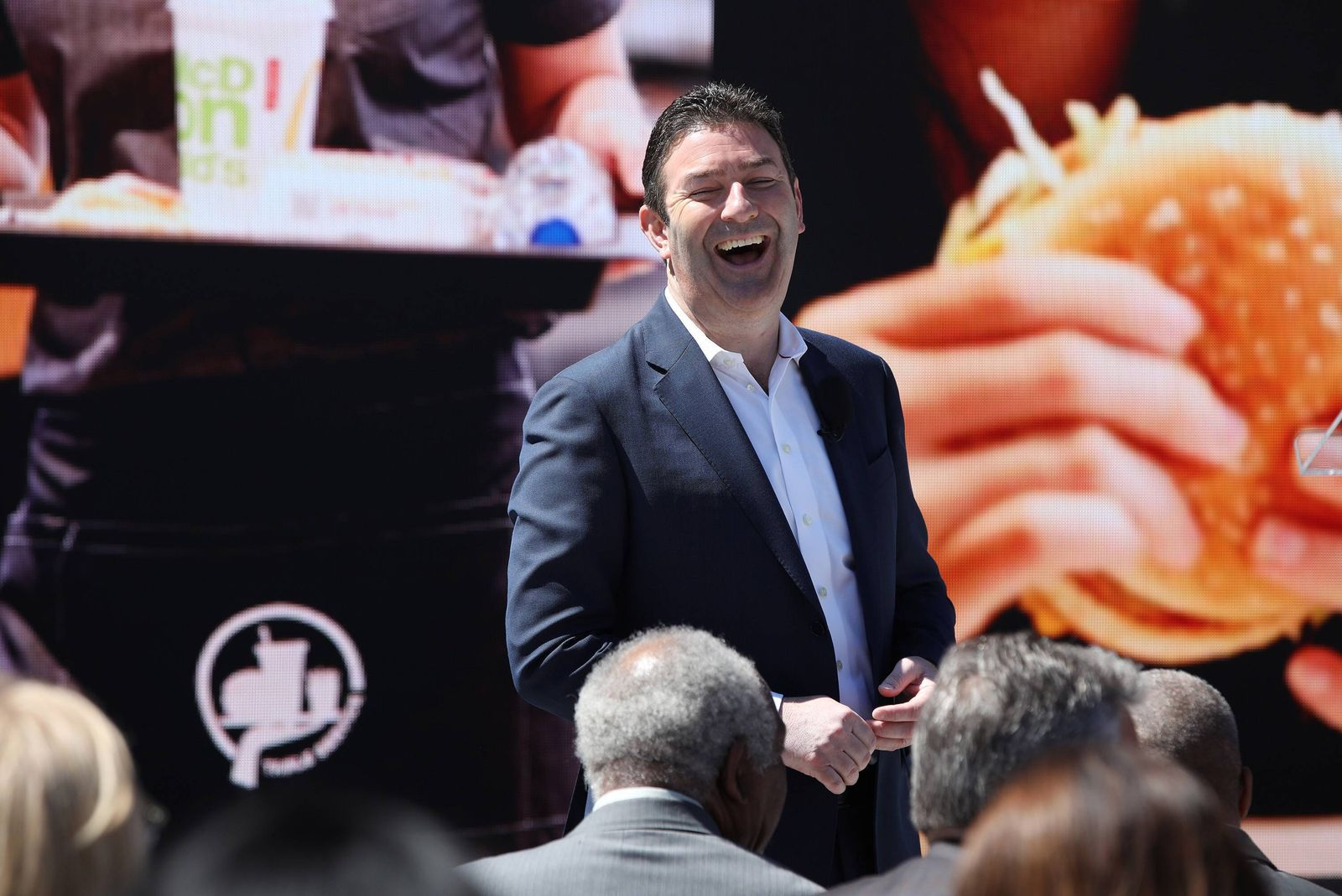 June 4, 2018 - Chicago, IL, USA - Steve Easterbrook , President and CEO of McDonald s Corporation, greets people in the