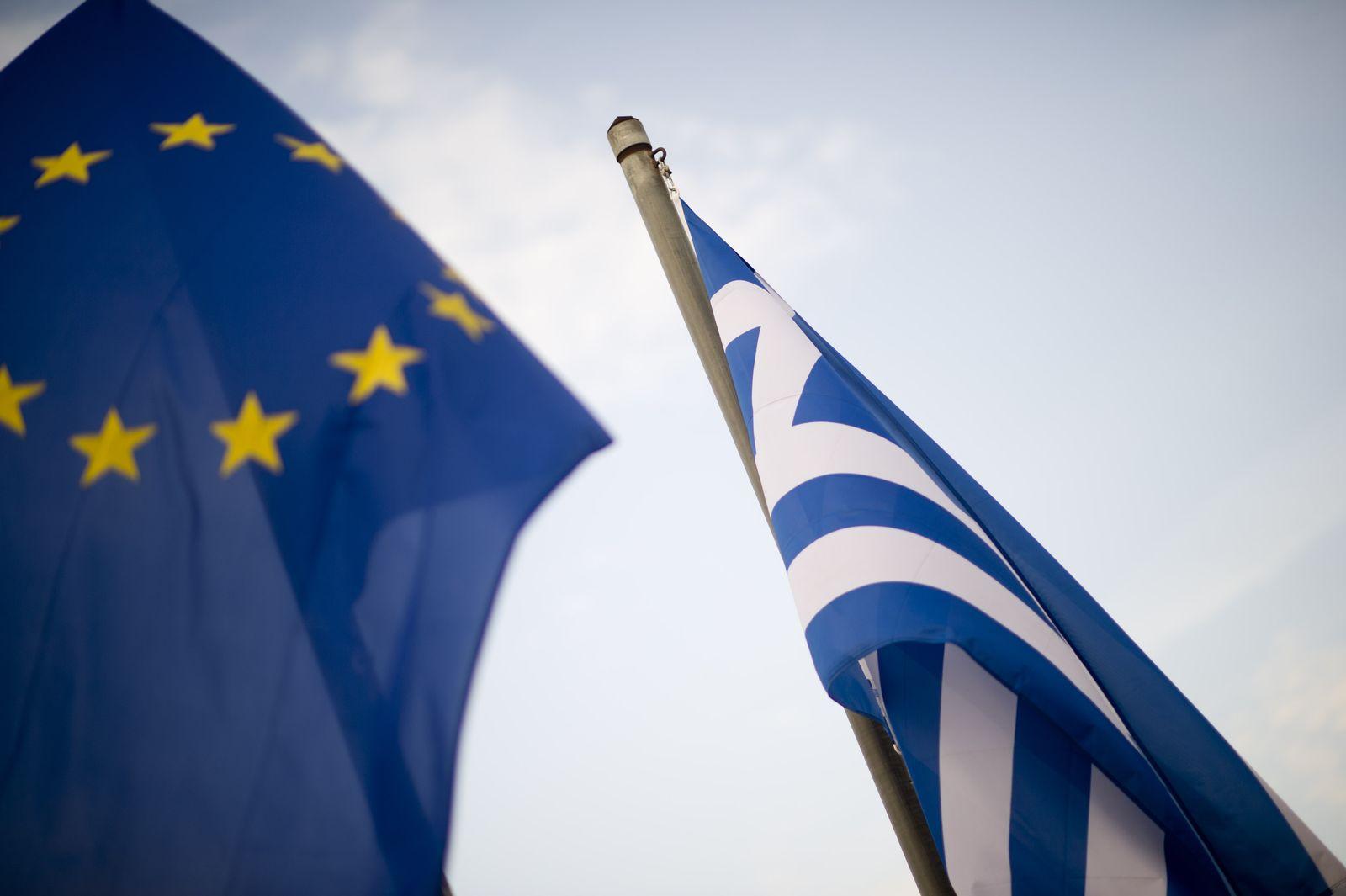NICHT VERWENDEN Griechenland / Fahne / EU-Fahne