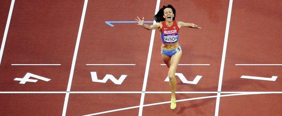 Russische 800-Meter-Läuferin Marija Sawinowa bei ihrem Olympiasieg 2012 in London