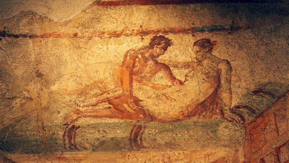 Erotisches Fresko in Pompei: Die Abbildung zeigt ein antikes Bordell