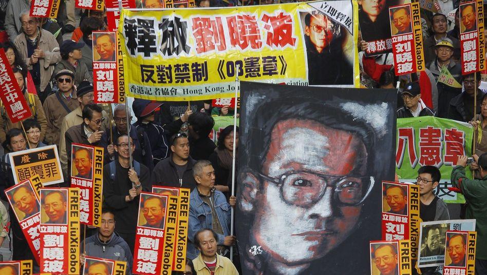 Demonstration für Liu Xiaobo (Januar 2010): Haft ist immer häufiger ein Weg, Kritiker mundtot zu machen