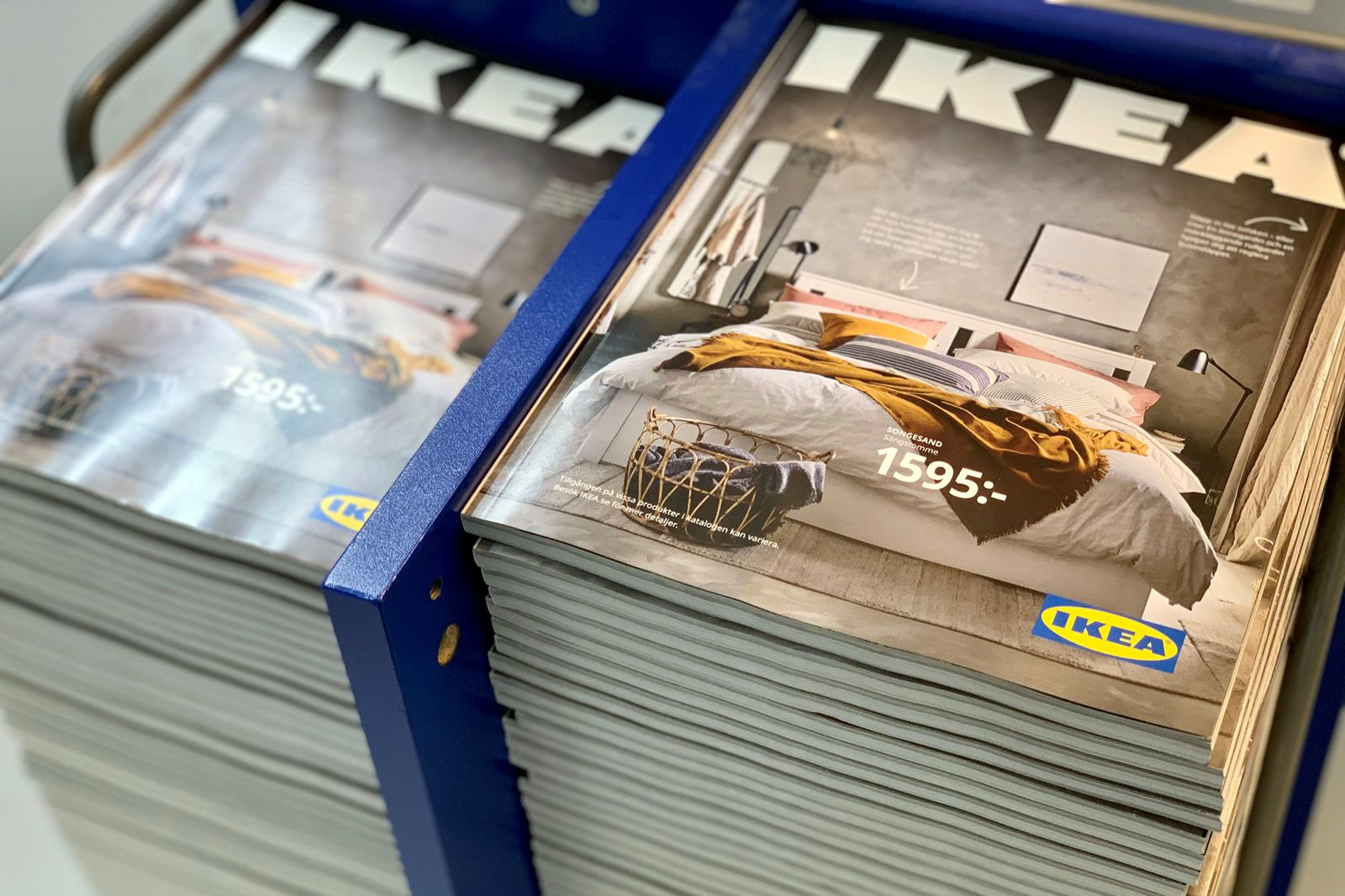 Stacks of IKEA catalogues on outskirts of Stockholm