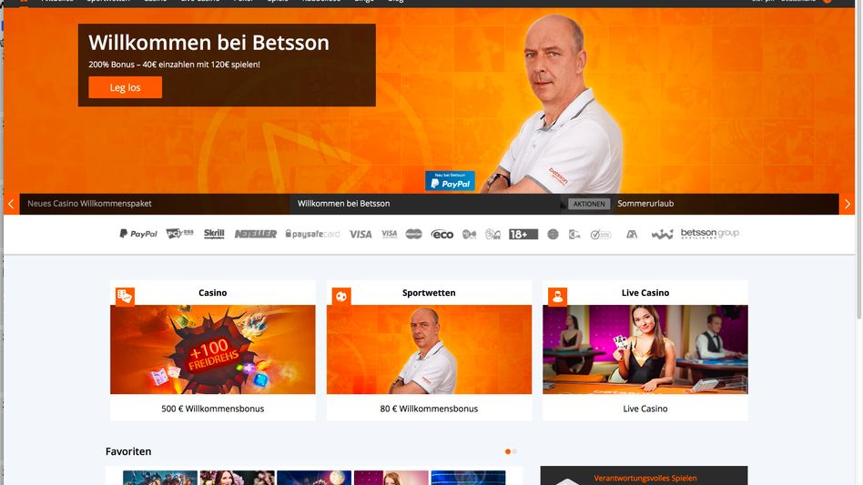 The Betsson website with an image of Mario Basler