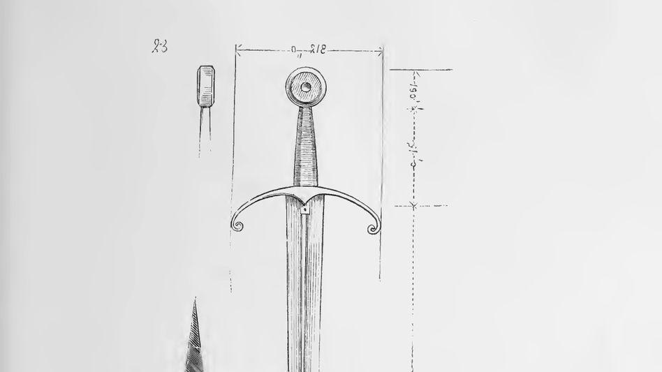 Scharf: Schwert aus dem 15. Jahrhundert, (Zeichnung von 1874)