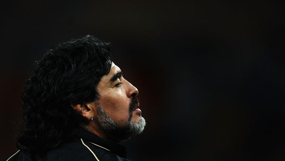 Diego Maradona während des WM-Spiels zwischen Argentinien und Mexiko in Johannesburg 2010 (Archiv)