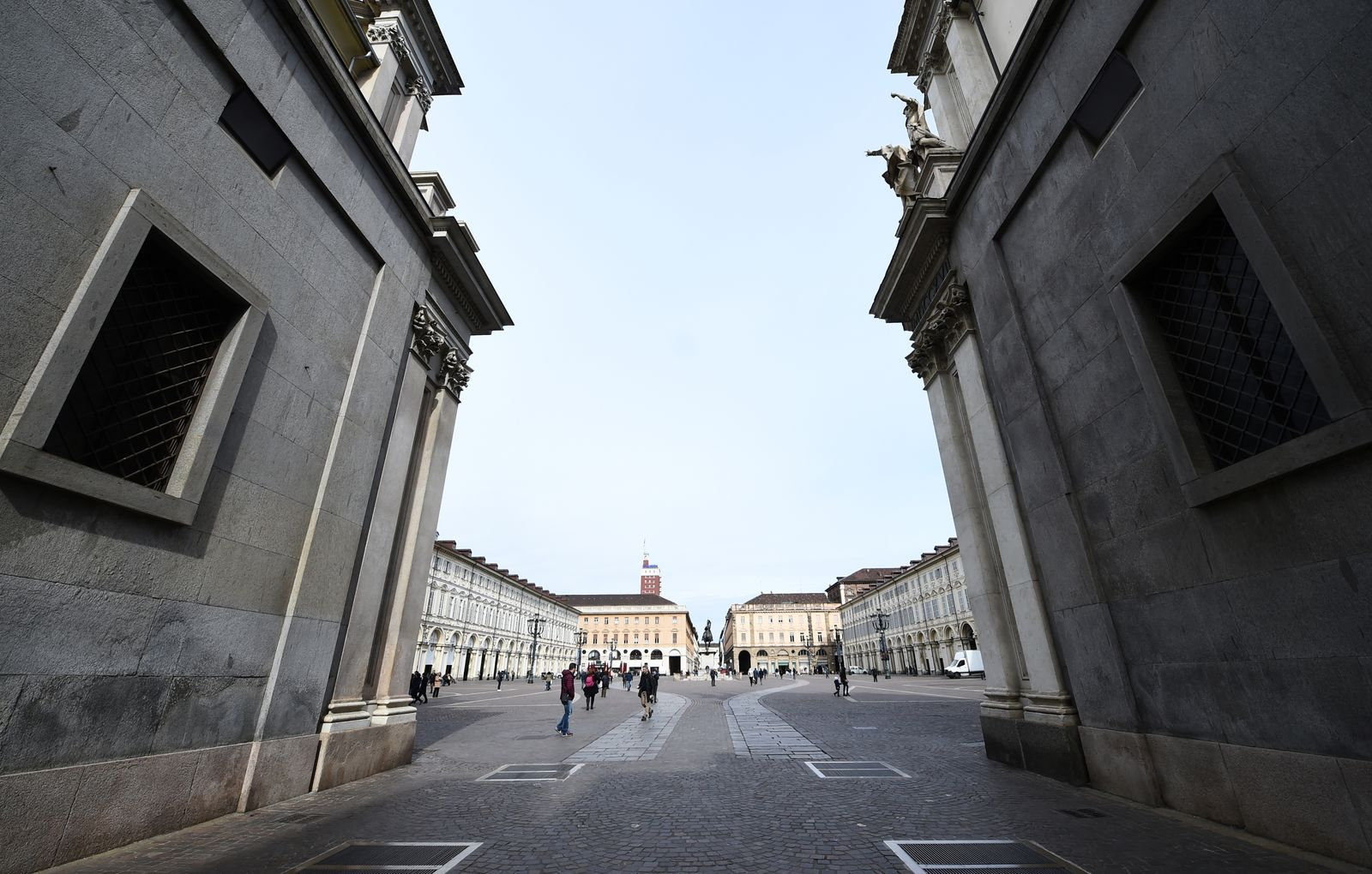San Carlo square is seen almost empty, as a coronavirus outbreak continues to grow in northern Italy, in Turin