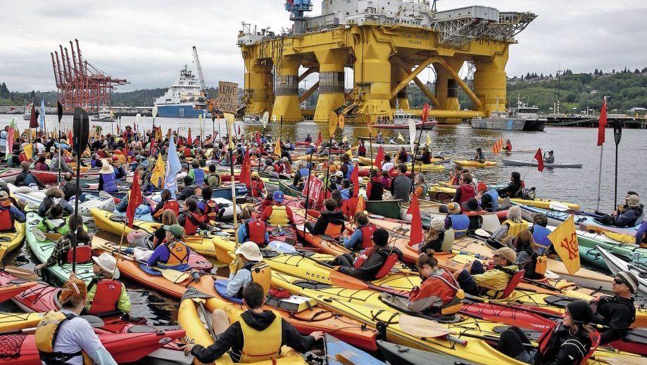 Protestaktion gegen Arktis-Ölförderprojekt am 16. Mai in Seattle: Die Blase ist prall gefüllt