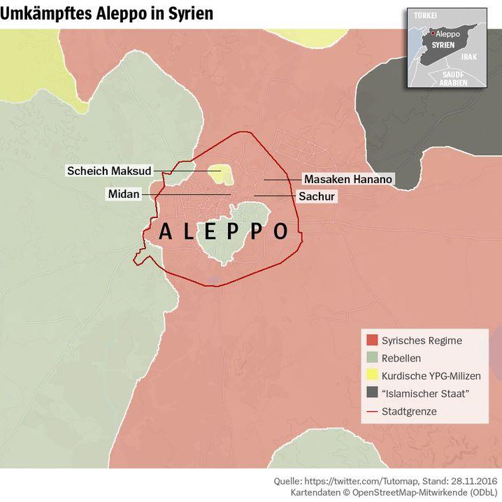 Frontverlauf in Aleppo