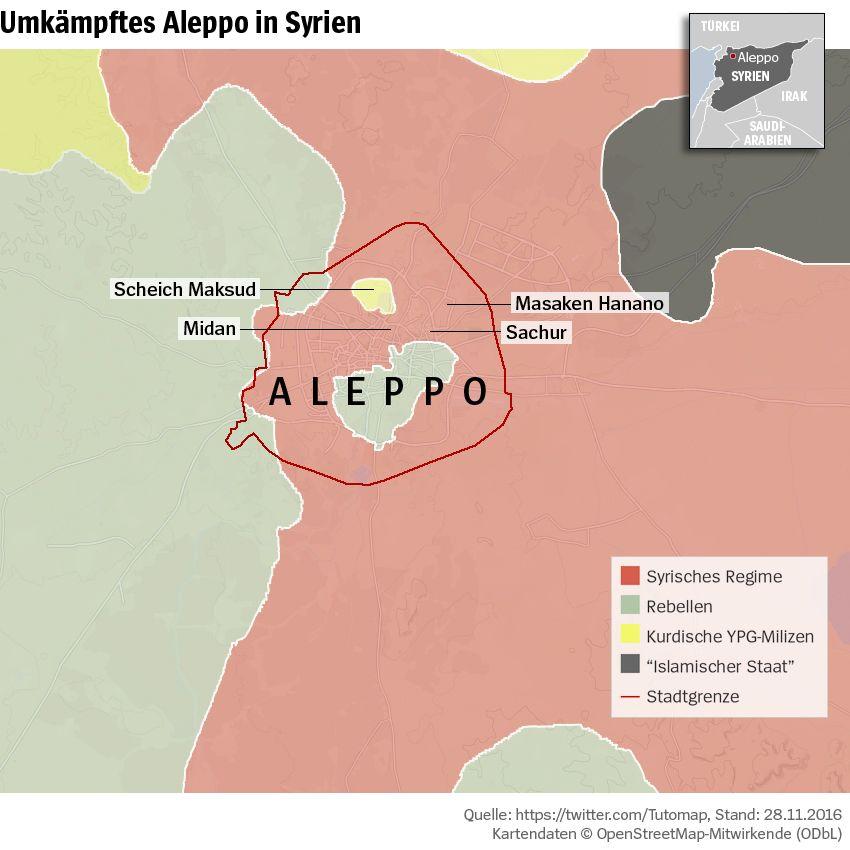 Grafik Karte Syrien Aleppo - Umkämpftes Aleppo - Stand 28-11-2016