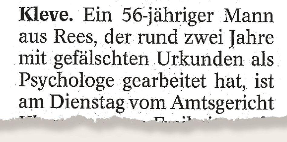 Aus der »Westdeutschen Allgemeinen«