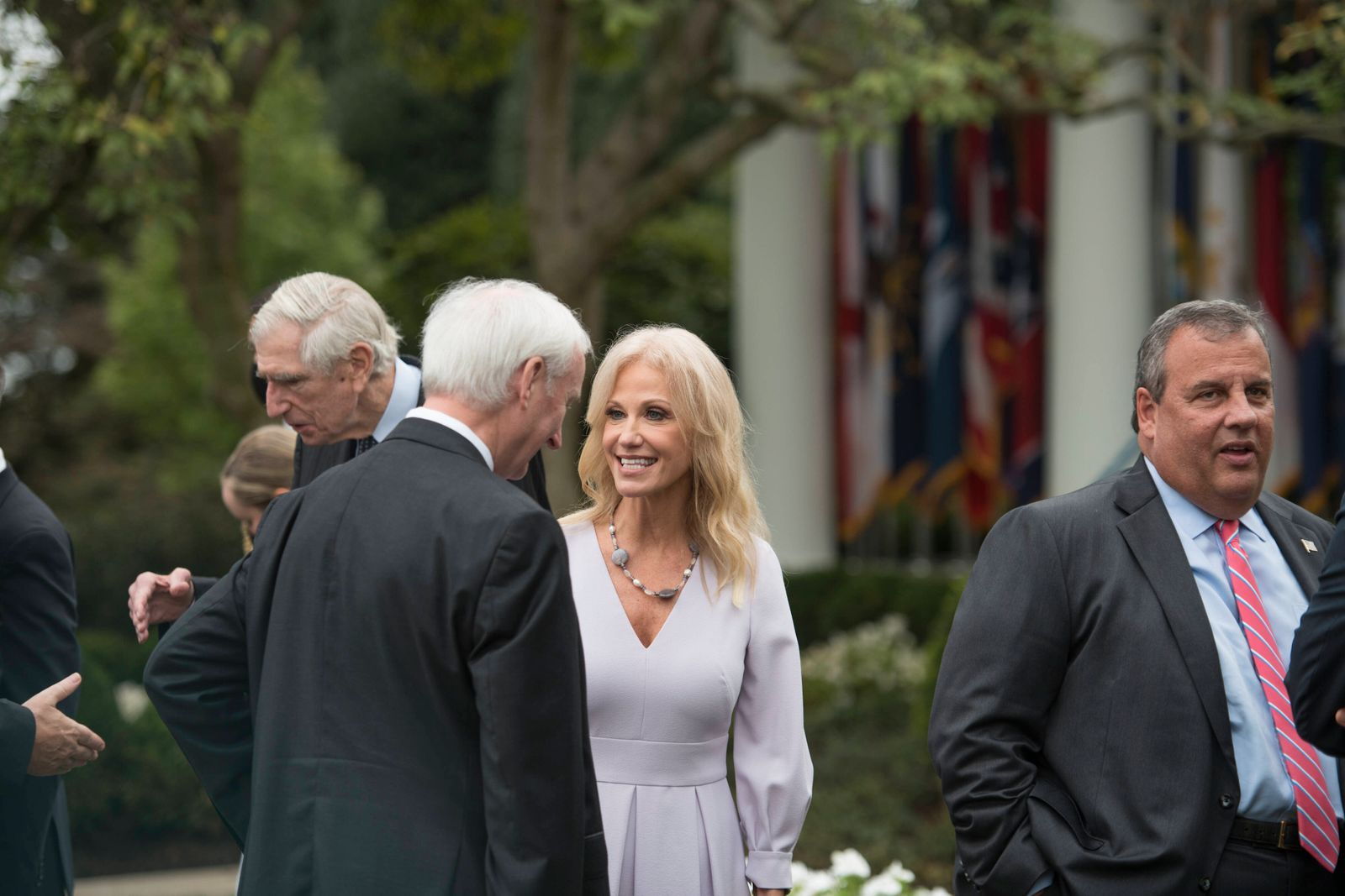 Kellyanne Conway, right, talks with other guests following President Donald Trump s announcement of Amy Coney Barrett,