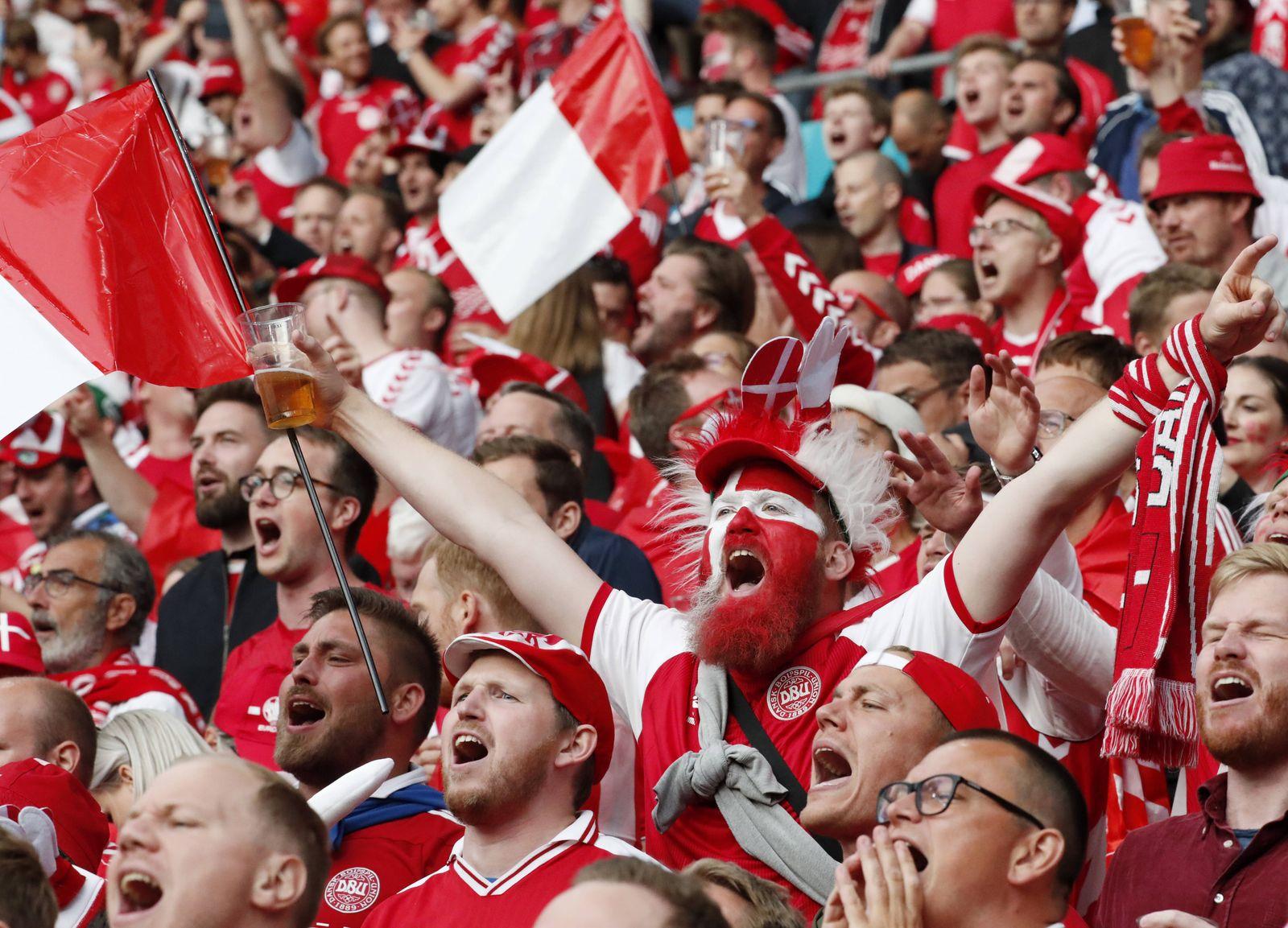 COPENHAGEN, DENMARK - JUNE 21, 2021: Team Denmark s fans anticipate the UEFA EURO, EM, Europameisterschaft,Fussball 2020