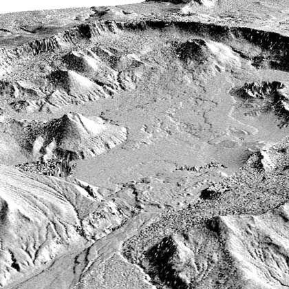 Blick ins Zentrum: Der Krater des Vulkans Okmok