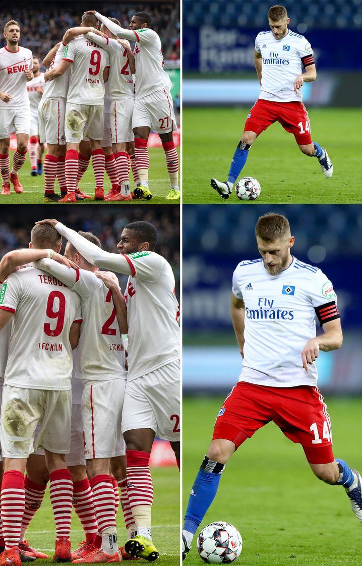 Kölns Team jubelt über einen Treffer (l.); Aaron Hunt ist der Spielmacher beim HSV
