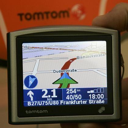A TomTom navigation device.