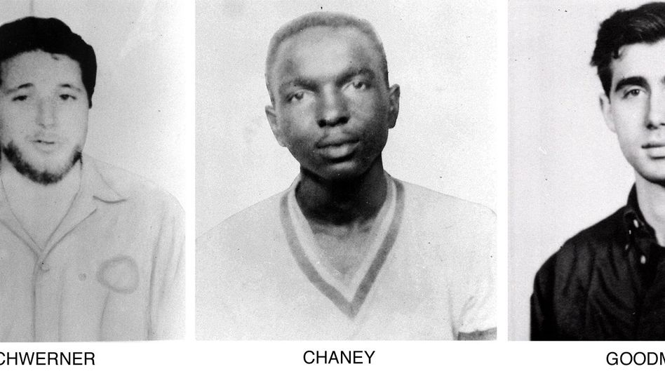 Michael Schwerner, James Cheney, Andrew Goodman (von l. nach r.)