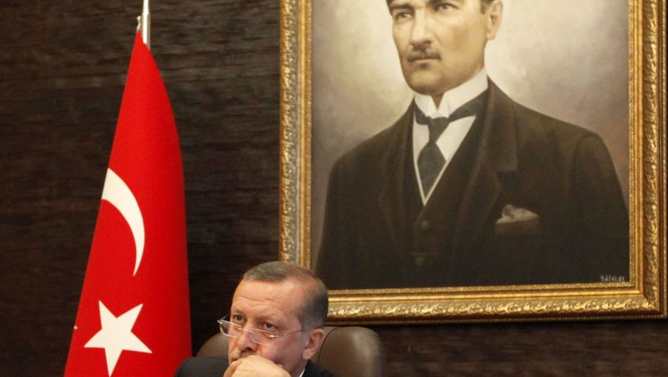 Turkey's Prime Minister Tayyip Erdogan at his office at the AK Party headquarters in Ankara.