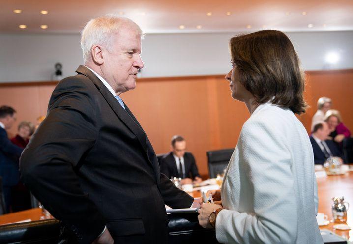 Ministerkollegen Seehofer und Barley bei einer Sitzung im Kanzleramt
