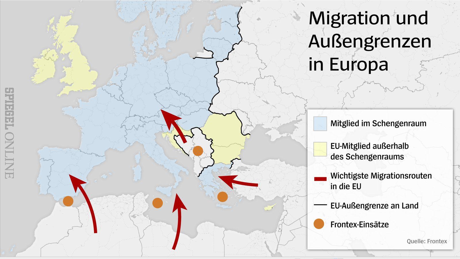 Karte Migration und Außengrenzen in Europa