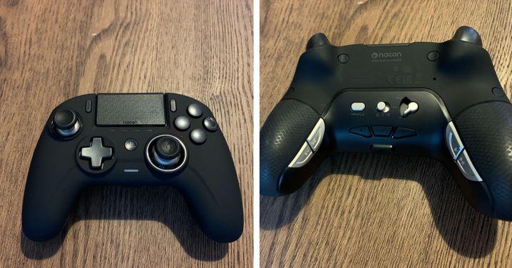Der matte Controller liegt sehr gut in der Hand, doch leider sind die vier Tasten auf der Rückseite kaum unterscheidbar