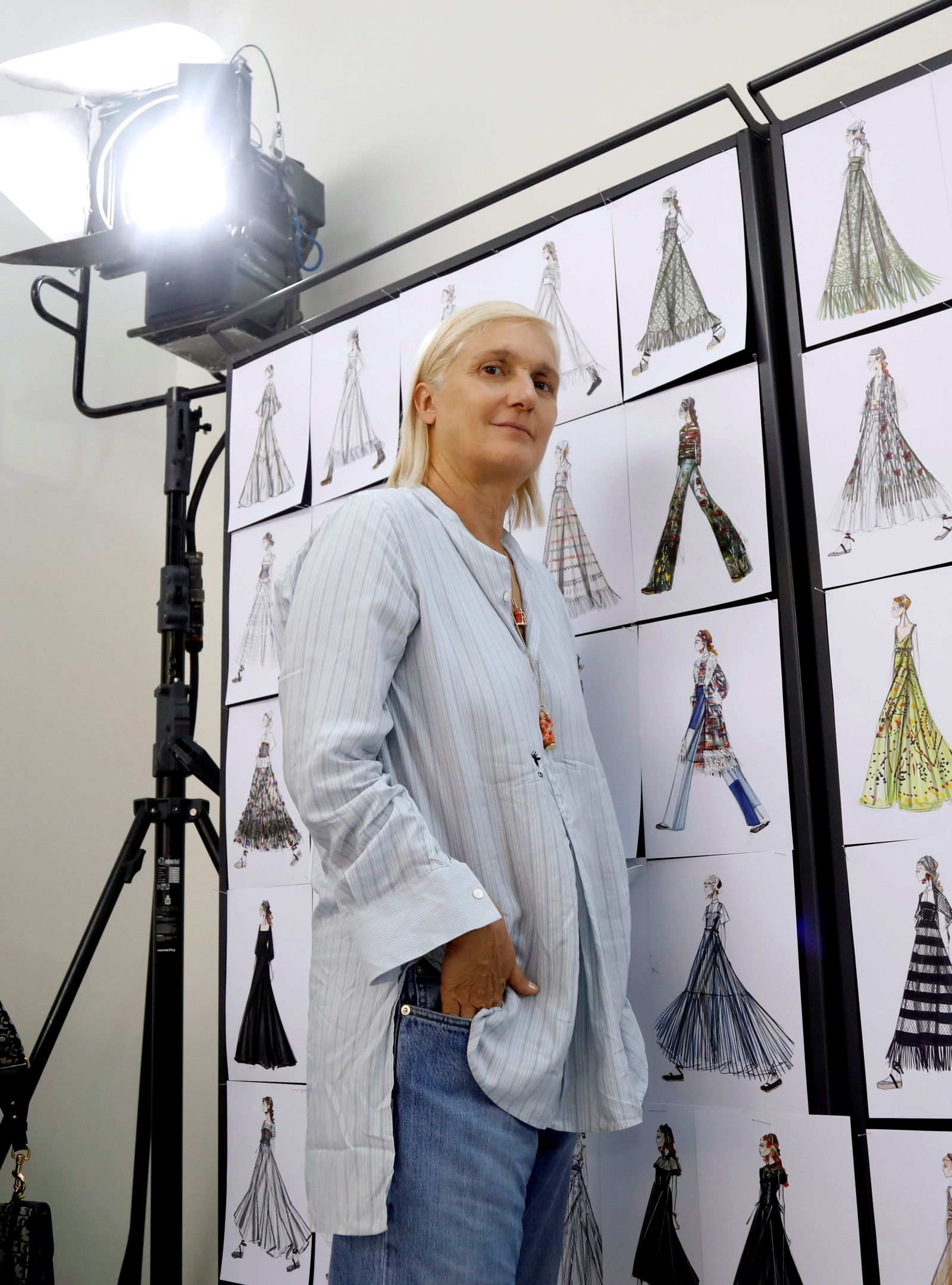 Designer Maria Grazia Chiuri poses ahead of Dior's 2021 Cruise collection presentation in Paris