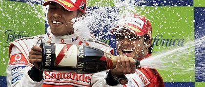 Zweitplatzierter Hamilton (li.) und Sieger Massa: Protagonisten des Wochenendes