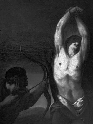 """Reproduktion des Gemäldes """"Martyrium des heiligen Sebastian"""" (um 1700, unbekannter Künstler): Das Originalgemälde gehört zu den 87 verschollenen Bildern"""