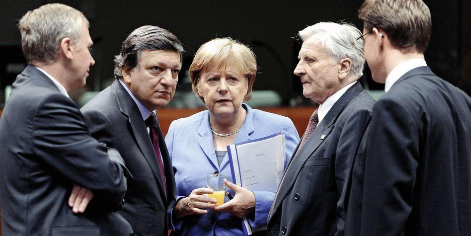 Kanzlerin Merkel beim EU-Gipfel in Brüssel 2011