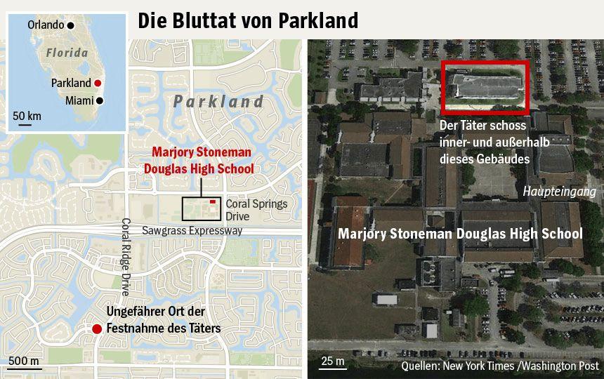 Karte - Massaker an der Highschool Parkland