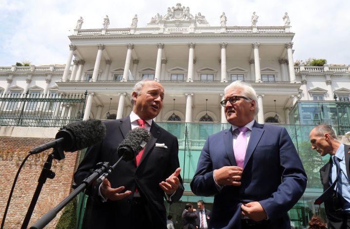 Frankreichs Außenminister Fabius und sein deutscher Kollege Steinmeier in Wien: Gemeinsame Hoffnungen auf Entspannung und Handel