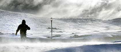 Schneesturm auf den Shetlands: Klimawechsel gefährlicher als Terrorismus