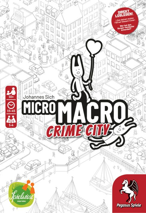 Zum Testen im Laden: Ein kurzer Kriminalfall ist bereits auf der Schachtel von »MicroMacro: Crime City« abgedruckt