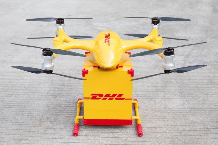 Eine DHL-Lieferdrohne im chinesischen Guangzhou. In Deutschland hatte das Unternehmen unter anderem Zustellungen im bayerischen Reit im Winkl und auf der Nordseeinsel Juist getestet